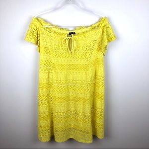 TopShop Neon Yellow Eyelet Off The Shoulder Dress